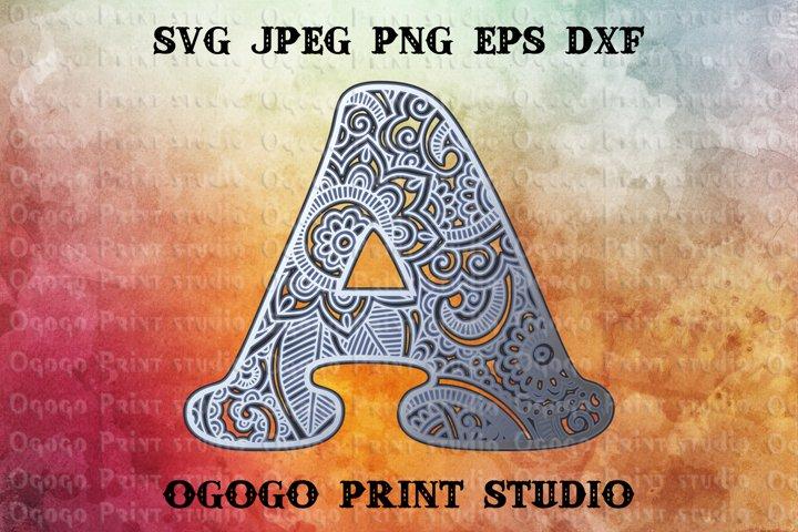 3D Letter Layered Mandala SVG, Zentangle SVG, Monogram Svg