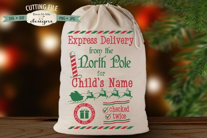 Express Delivery from North Pole SVG | Santa Sack SVG