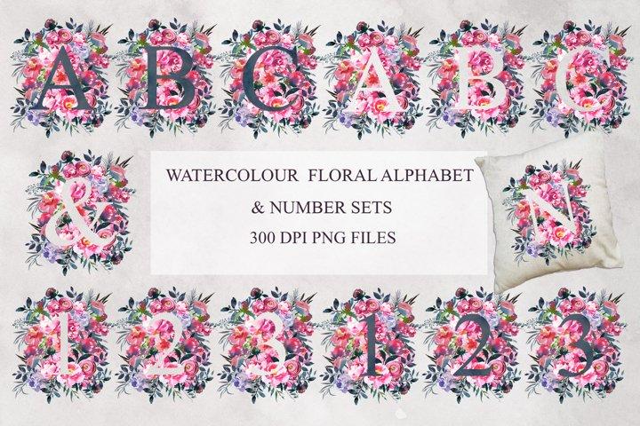 Floral Watercolour Alphabet and Number Clipart Bundle