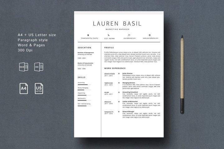 MS WORD Creative Resume Template CV Design
