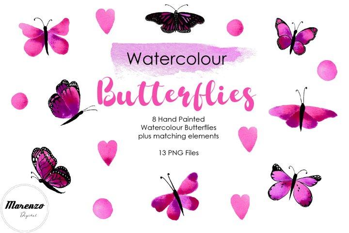 Purple Watercolour Butterflies