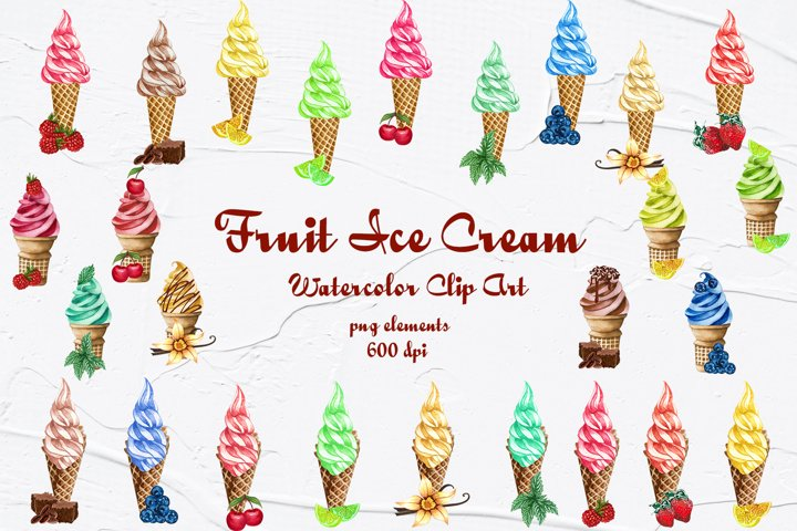 Fruit Ice Cream Watercolor Clipart