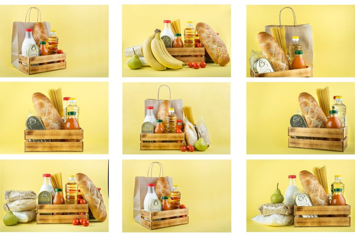 Food donations on a yellow background. A series of 9 photos