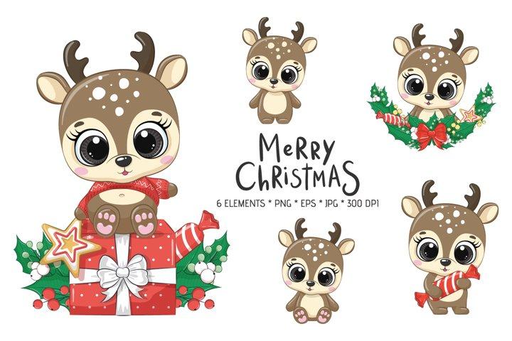 Cute Christmas Deer Clipart, PNG, EPS, JPG, 300 DPI