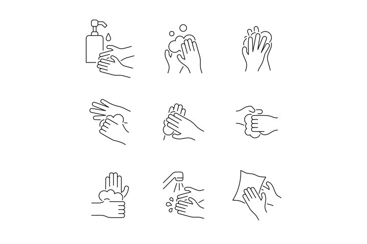 Hand washing line icon set