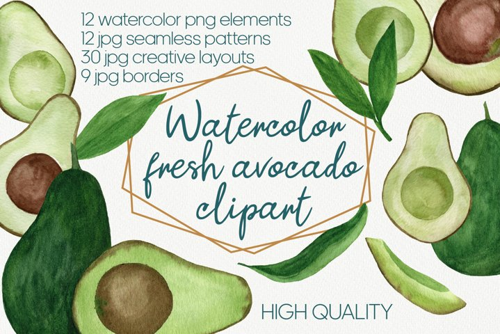 Watercolor Avocado clipart, Bundle, Vegan Healthy food art
