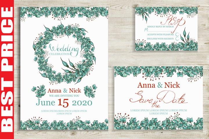 Blue Flowers Wedding Invitation Cards