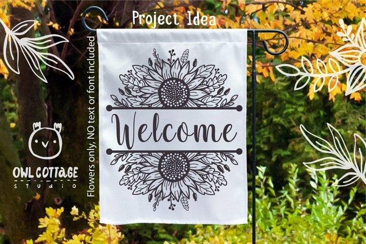 Sunflowers Split Border Monograms Set svg, floral monograms example 4