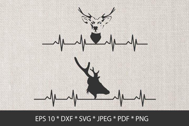 Deer Heartbeat Silhouette SVG. Deer Hunting.