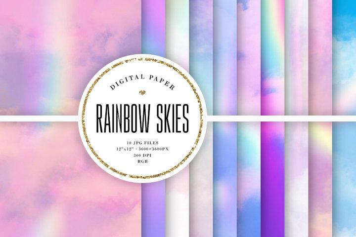 Rainbow Sky Backgrounds - Soft Clouds Digital Paper
