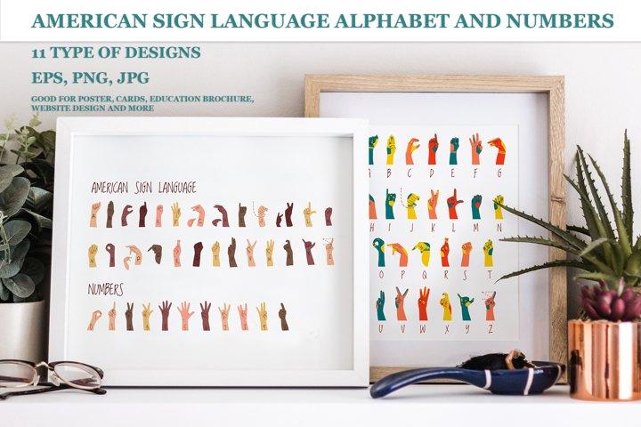 Sign Language bundle. ASL alphabet, numbers, printing design