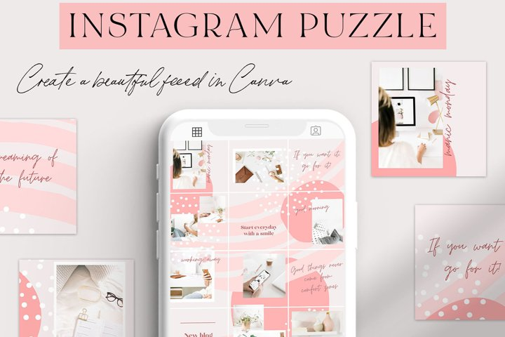 Pink & White Canva Instagram Puzzle Grid Template