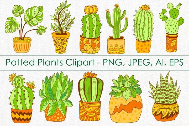 Cactus & Succulent Plants in Pots Clipart - Botanical Art