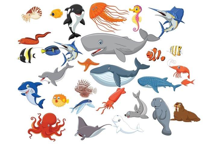 Cartoon Sea Animal Life Vector Set