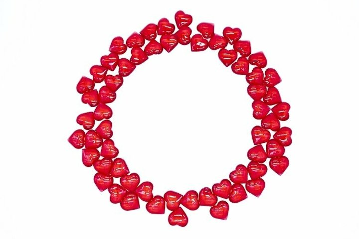 Red round heart frame on a white background