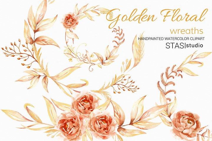 Watercolor Floral Wreaths Clip Art Gold Leaves Autumn Clipar