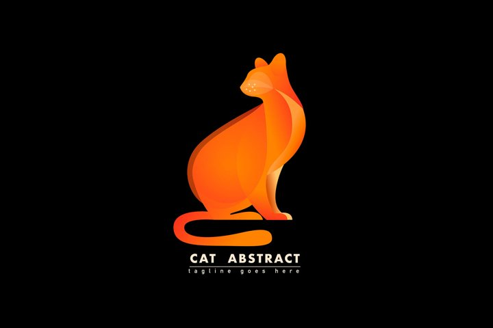 Cat Illustration Vector Template, Logo