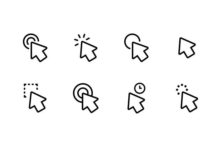 Mouse cursor icons set. Click, arrow, pointer. Vector