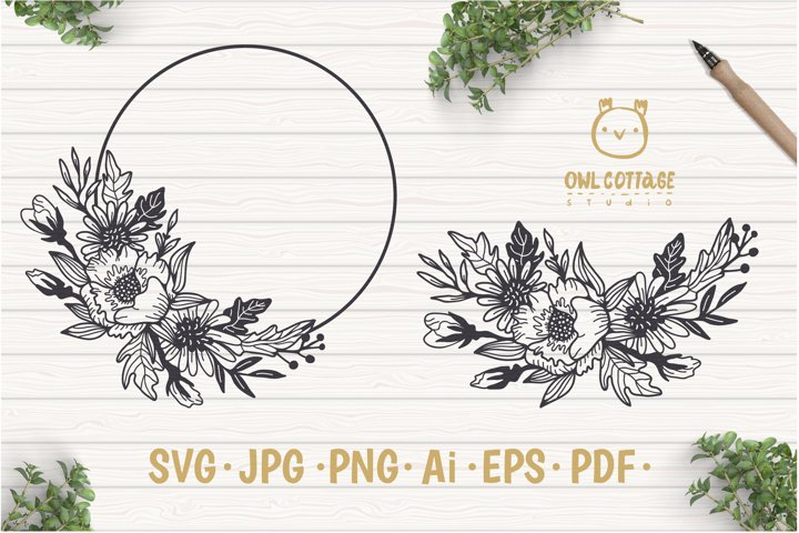 Flower Wreath SVG, Flower monogram svg example
