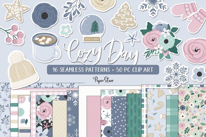 Seamless Winter Digital Paper Clipart Set