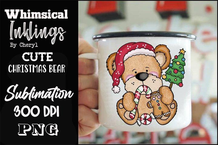 Cute Christmas Bear Sublimation Clipart