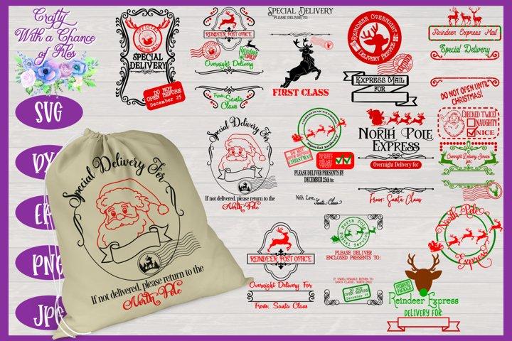 Christmas SVG | Santa Gift Bags SVGs | Santa Bag SVGs