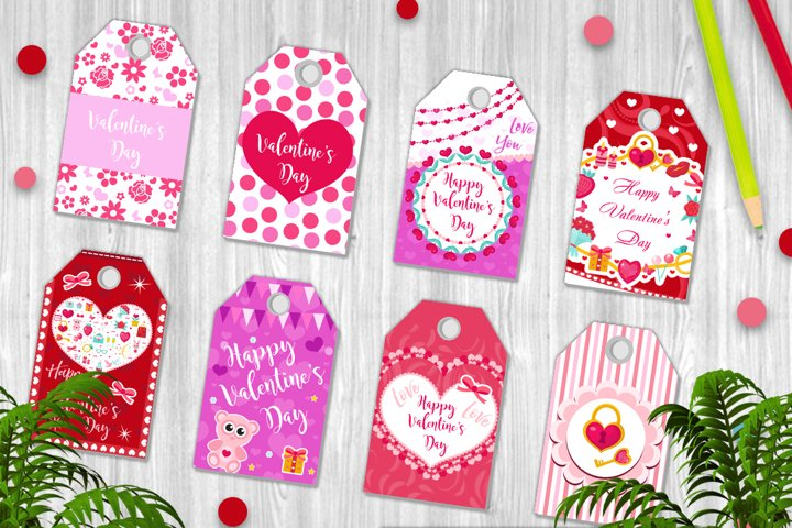 Happy Valentine s Day tags set in the shape of a heart