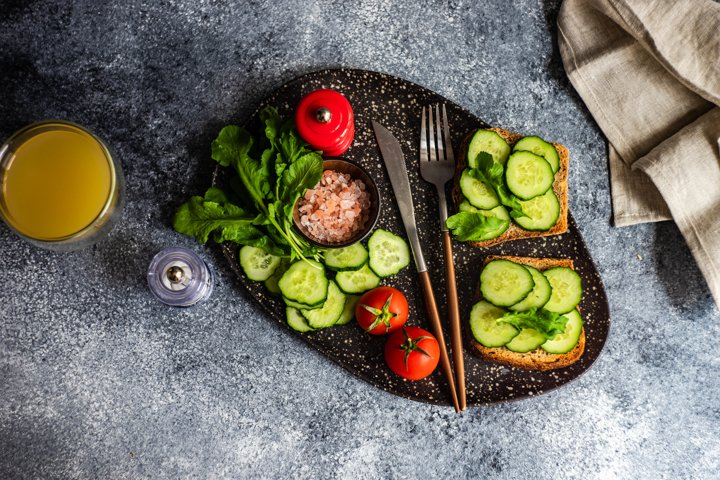 Healthy lunch concept with toasts
