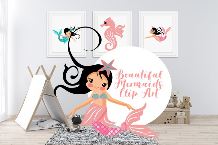 Beautiful Mermaids Clip Art SVG illustrations Bundle