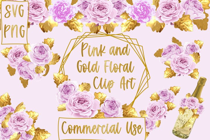 Pink and Gold Floral Clipart SVG and PNG