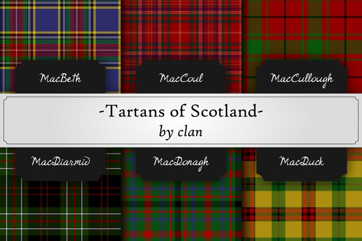 photorealistic seamless pattern of scottish tartans by clan
