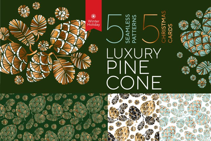 Elegant luxury style pine cones patterns