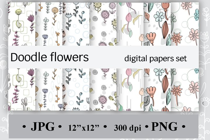 Doodle flowers, Digital papers set, Cute seamless pattern