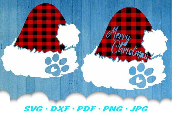 Christmas Dog Paw Santa Hat SVG DXF Cut Files