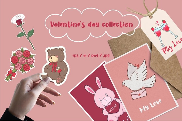 Collection of graphics for valentines day