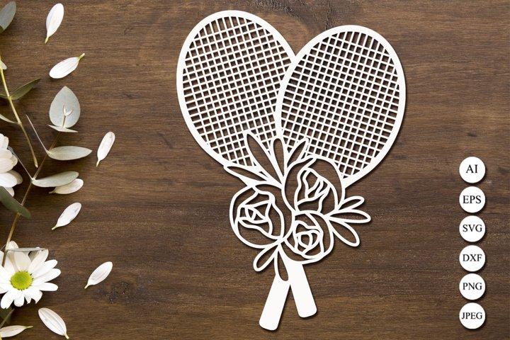 Floral tennis racket svg, Sports svg, Tennis monogram dxf
