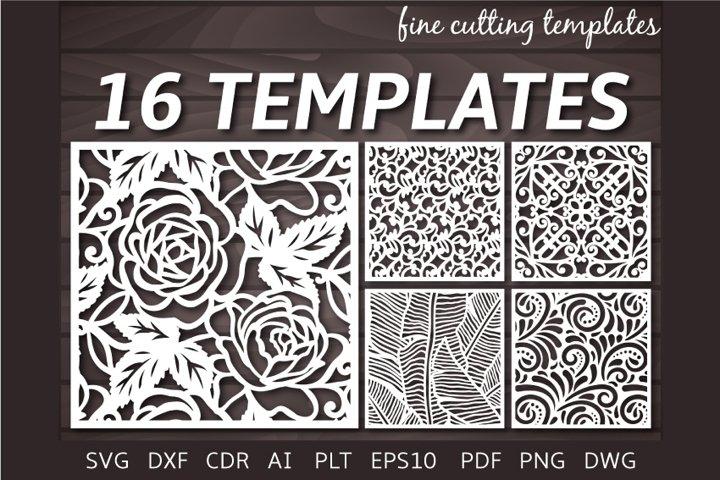 16 Decorative Square Patterned Panel kit Laser cut Cricut