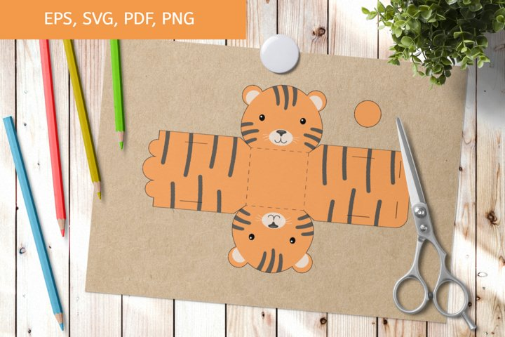 Cute Tiger Gift Box Template SVG, Gift Box SVG