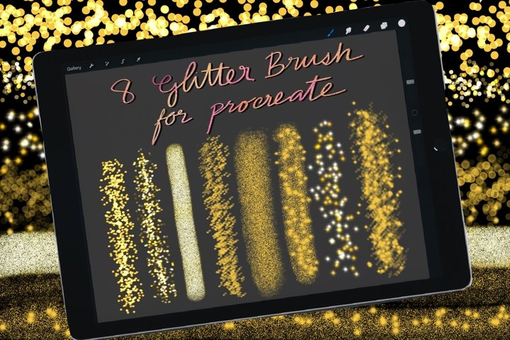 Glitter Brushes for Procreate, Lettering brushes, Sparkling
