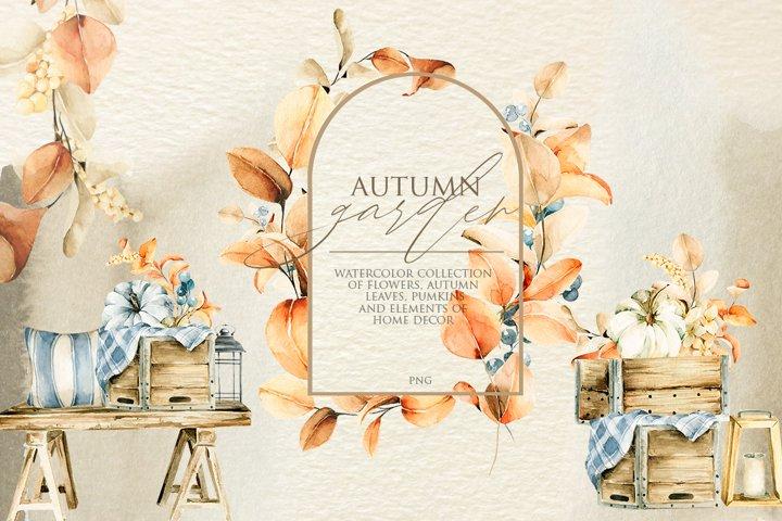 Autumn garden. Watercolor floral collection