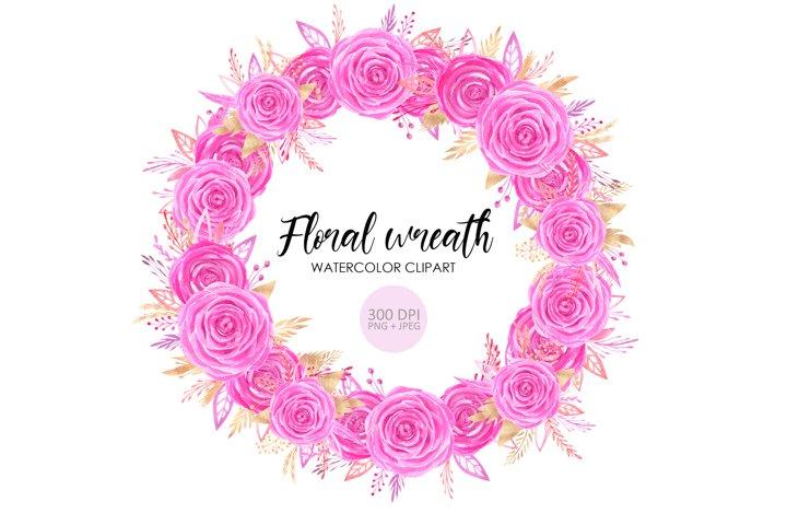 Watercolor rose wreath clipart
