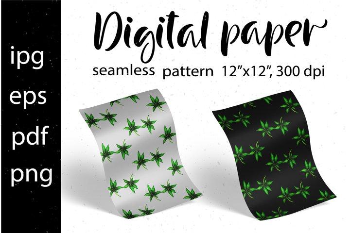 Digital paper Green watercolor leaves. Seamless pattern