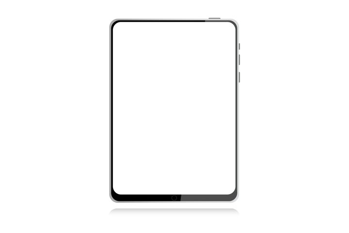 Realistic gray tablet on white background with shadow vector