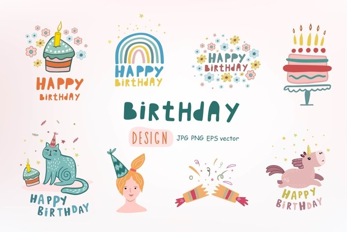 Birthday design. Set of illustrations for a birthday.