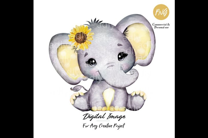 Baby elephant, Gray and Yellow, sunflower, clip art
