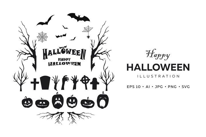 Set of Halloween holiday symbols