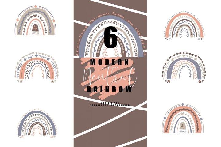 Bundle of 6 modern neutral rainbow, rainbows abstract, earth