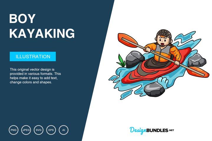 Boy Kayaking Adventure Vector Illustration