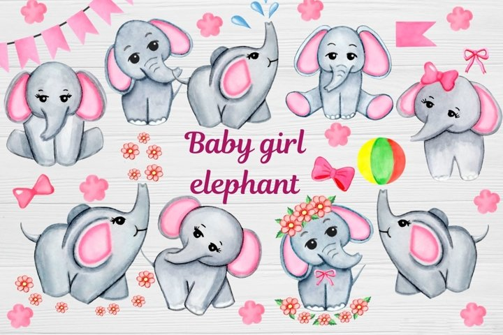 Watercolor Baby Elephant clipart, Cute Watercolor Girl