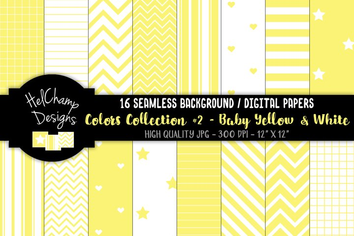 16 seamless Digital Papers - Baby Yellow and White- HC157